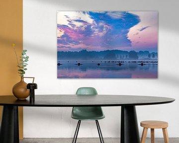 Gänse schwimmen in der Morgendämmerung von 2BHAPPY4EVER.com photography & digital art