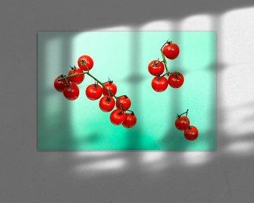 Rode kerstomaten tegen een groene achtergrond van Wim Stolwerk