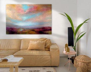 Heide met gouden wolken van Annette Schmucker