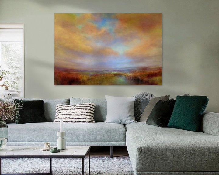 Impression: Couleurs de la lumière avec des nuages dorés sur Annette Schmucker