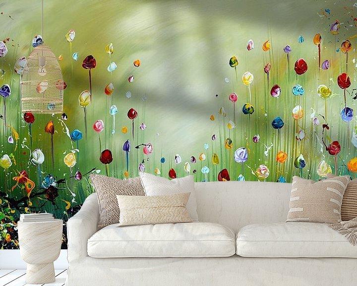 Sfeerimpressie behang: Bloemen van Gena Theheartofart
