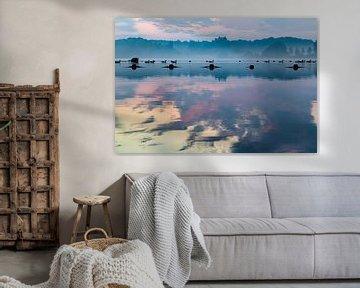 Gänse schwimmen in der Morgendämmerung (2) von 2BHAPPY4EVER.com photography & digital art