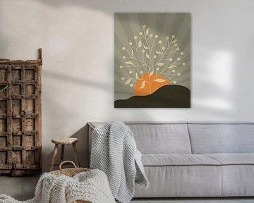 Minimalistisch landschap met een boom en een oranje zon van Tanja Udelhofen