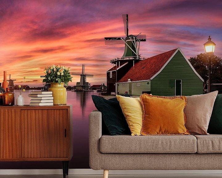Sfeerimpressie behang: Sunset by the windmills of Zaanse Schans van Costas Ganasos