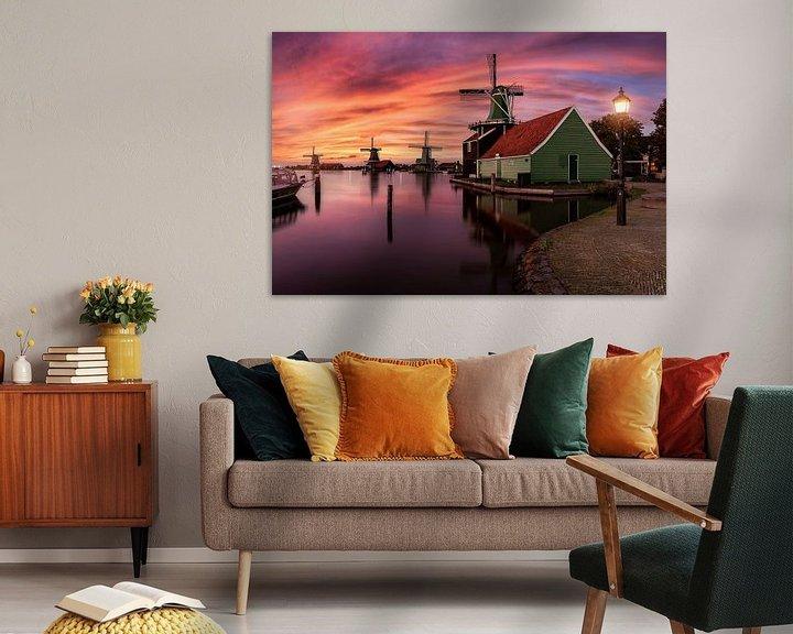 Sfeerimpressie: Sunset by the windmills of Zaanse Schans van Costas Ganasos
