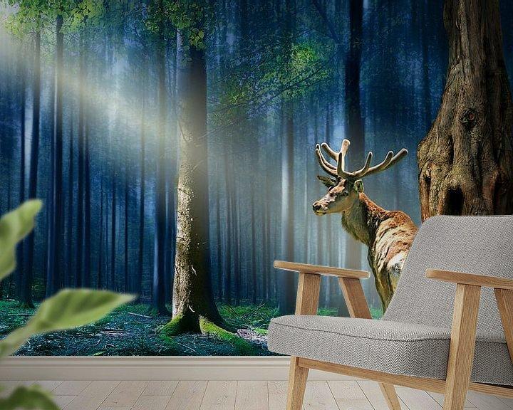 Sfeerimpressie behang: De herten in de mystieke bossen van Monika Jüngling