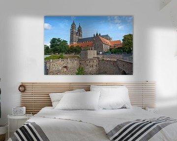 Maagdenburg - Bastion Kleve (Gebhardt) en Dom van Maagdenburg van t.ART