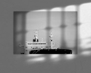 Vrachtschepen aan de horizon in Amsterdam Noord. van scheepskijkerhavenfotografie