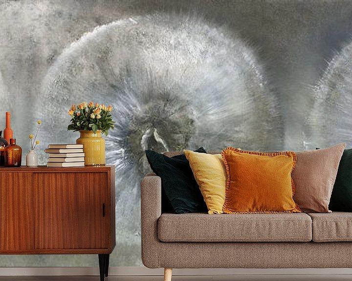 Beispiel fototapete: Drei Pusteblumen im weißen Licht von Annette Schmucker