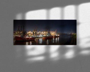 Panorama bei Nacht im Hamburger Hafen von Jonas Weinitschke