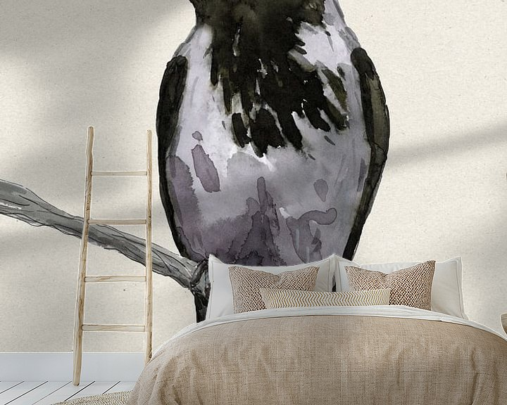Sfeerimpressie behang: Bonte kraai aquarel van Bianca Wisseloo