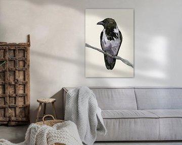 Bonte kraai aquarel van Bianca Wisseloo