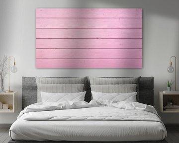 Roze pastelkleurige houten planken achtergrond van Alex Winter