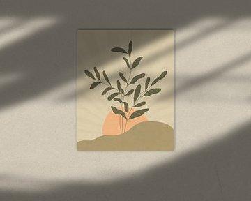 Minimalistisch landschap met een bladplant bij zonsopkomst van Tanja Udelhofen