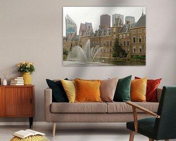 Binnenhof en moderne skyline Den Haag van Remco Swiers