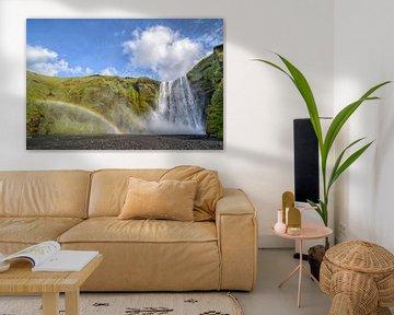 Skogafoss met regenboog van Sjoerd van der Wal