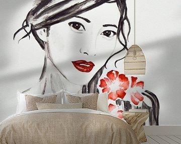 Portret in zwart wit van een Japanse vrouw met rode kersenbloesem  van Bianca ter Riet