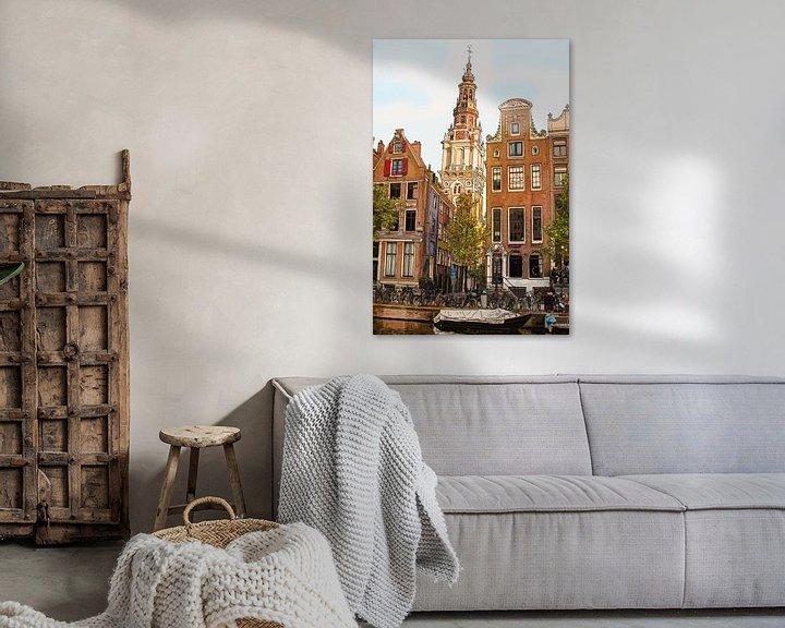 Sfeerimpressie: Tekening Zuiderkerk Amsterdam Pentekening Lijntekening Kleur van Hendrik-Jan Kornelis