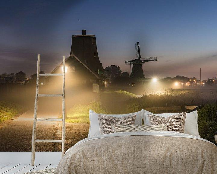 Sfeerimpressie behang: Mist op de Zaanse Schans van Jeroen de Jongh