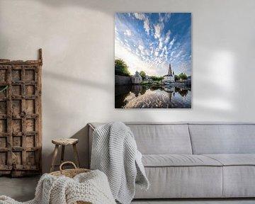 Reflectie van de zonsopkomst Spanjaardsgat te Breda van Joris Bax