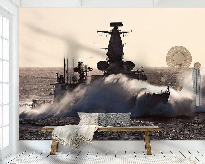 Sfeerimpressie behang: Fregat in de golven - part III van Alex Hiemstra