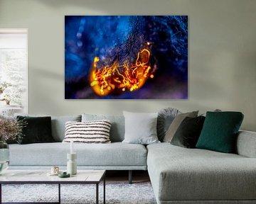 Blauw en oranje kampvuur van Sia Windig