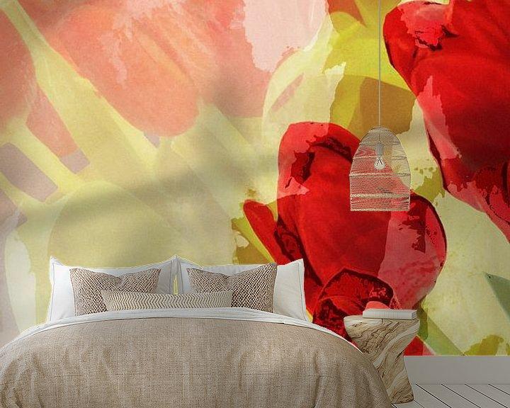 Sfeerimpressie behang: rote Tulpen van Dagmar Marina