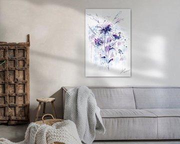 Klassiek aquarel schilderij van veldbloemen in paars lila en blauw van Wanddecoratie