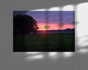 Zonsondergang horizontaal van Lathére Heuvel