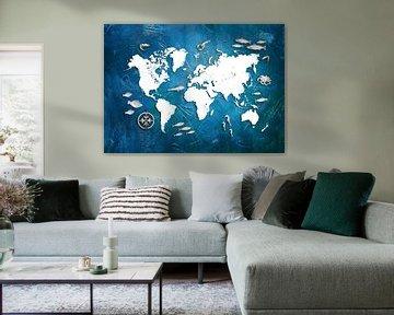 wereldkaart zeeleven blauw #kaart van JBJart Justyna Jaszke