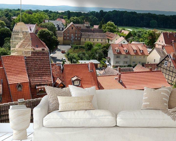 Sfeerimpressie behang: Dorp met smalle huisjes van Jaap Mulder