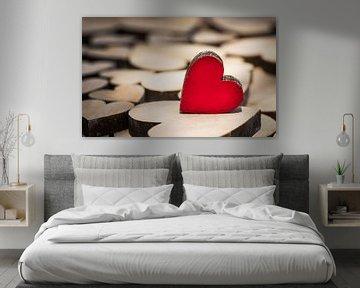 Valentijn dag achtergrond met houten liefde harten van Alex Winter