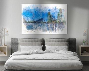 Skyline Rotterdam aquarel