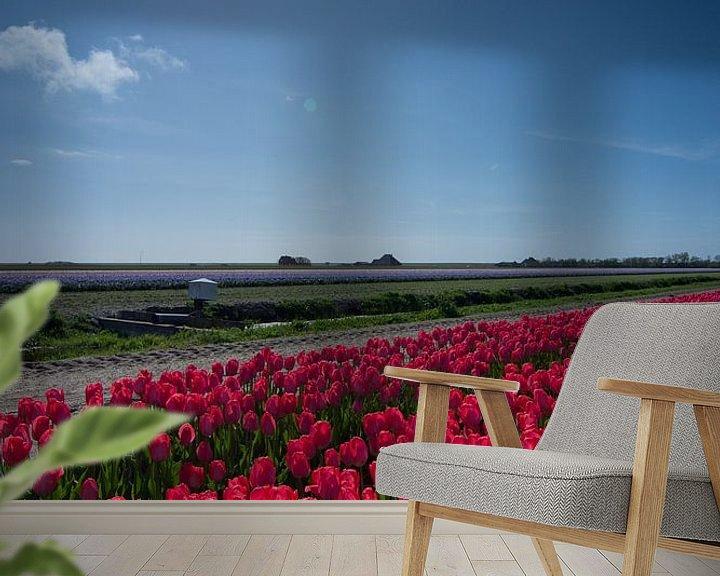 Beispiel fototapete: veld met rode tulpen von Arjen Schippers