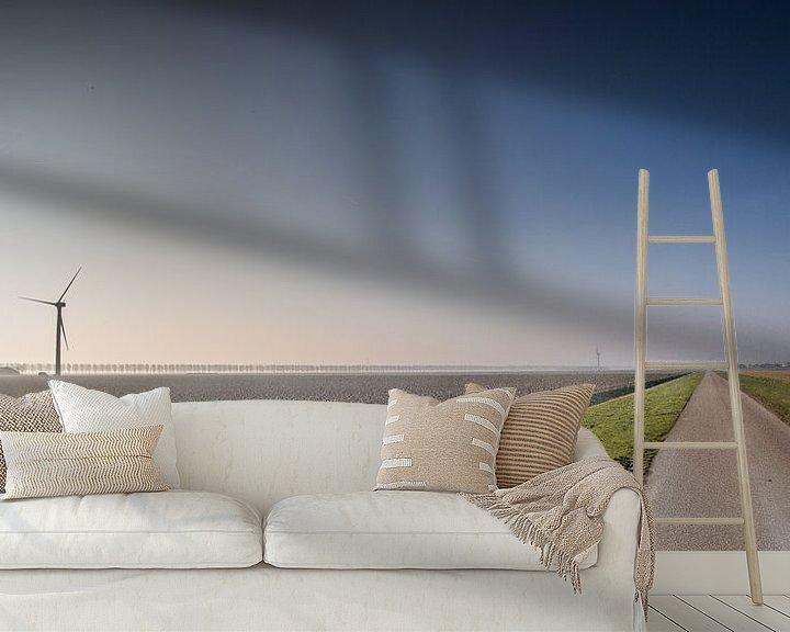 Sfeerimpressie behang: Flevolandschap #02 van Michiel Leegerstee