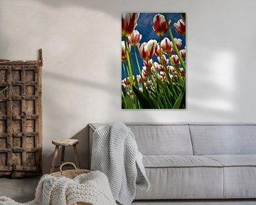 Tulpen-Feld in voller Blüte von Roel Beurskens