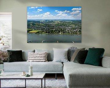 Het uitzicht vanaf Drachenfels op de Rijn en Bonn-Mehlem van David Esser