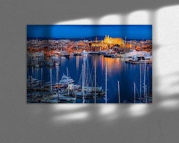 Haven van Palma de Mallorca bij nacht, Spanje, Middellandse Zee, Balearen van Alex Winter