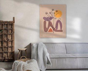 Minimalistisch landschap met een bloem van Tanja Udelhofen