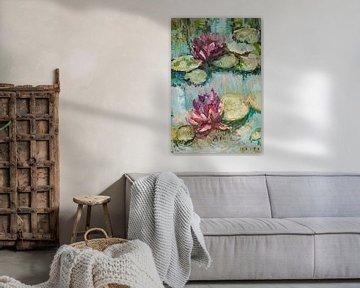 Twee waterlelies van Tanja Koelemij