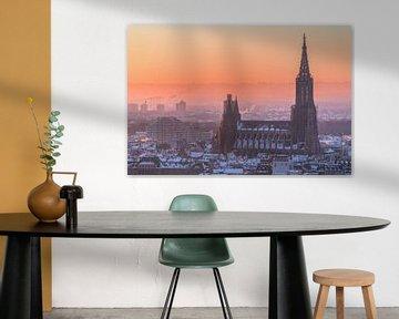 Ulmer Münster und Stadt ulm im Winter mit Schnee. Alpen und Neu-Ulm im Hintergrund