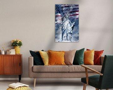 Modern-Art Statue Of Liberty | Blau von Melanie Viola