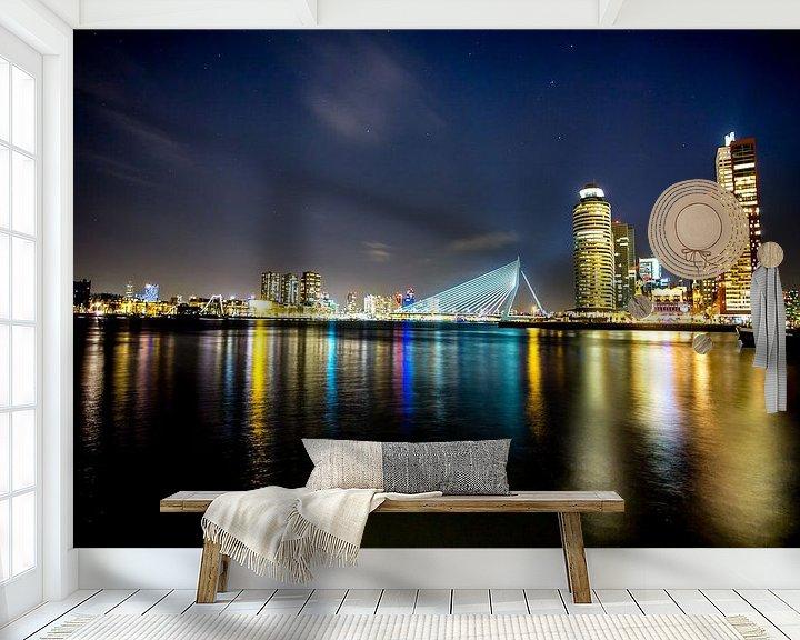 Sfeerimpressie behang: Rotterdam @night van Jeroen van Alten
