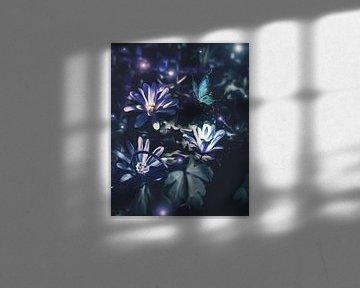 paars blauwe bloemen fantasie van Jessica Vreede