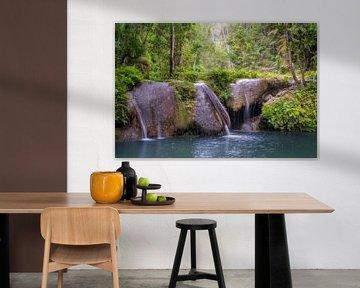 Kleine waterval op de Filippijnen in het bos met palmbomen van Daniel Pahmeier