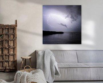 Blitze und Gewitter am Balaton in Ungarn. Abends Nachts