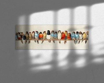 Eine Reihe von Vögeln, Vintage-Illustration