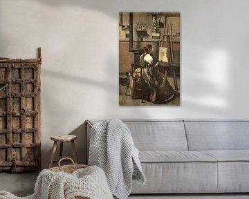 Vrouw zittend voor een ezel, een mandoline in haar hand, Jean-Baptiste-Camille Corot