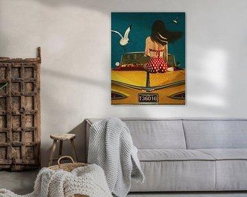 Peinture d'art dans un style rétro d'une fille et d'une voiture classique sur Jan Keteleer