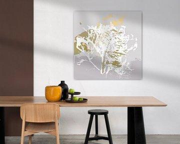Botanische Pflanzen 7 . Grashalme in Pastellfarben mit goldenen abstrakten Pinselstrichen von Dina Dankers
